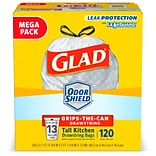 Glad OdorShield 10 -13 gal. Tall Kitchen Trash Bags, High Density 18.3 mic, 25.4 x 23.75, White, F