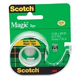 Scotch® Magic Tape w/Refillable Dispenser, Invisible, Write On, Matte Finish, 3/4 x 8.33 yds., 1 C