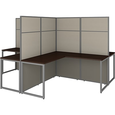 Bush Business Furniture Easy Office 66.34 x 119 X-Shaped Desk, Mocha Cherry (EODH760MR-03K)