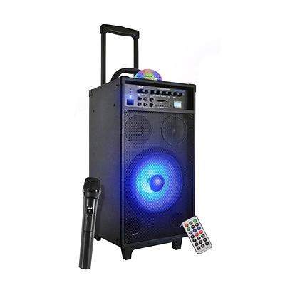 Portable Bluetooth PA Speaker System, Flashing DJ Lights, Built-in Rechargeable Battery, MP3/USB/SD Readers, FM Radio, 800 Watt