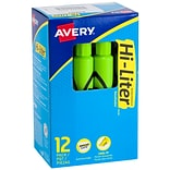 Avery Hi-Liter Tank Highlighters, Chisel, Green, Dozen (24020)