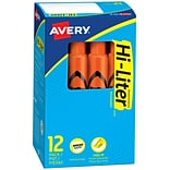 Avery Hi-Liter Tank Highlighters, Chisel, Orange, Dozen (24050)