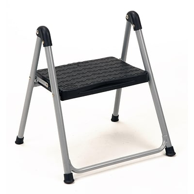 COSCO One Step Steel/Resin Folding Step Stool, Platinum/Black
