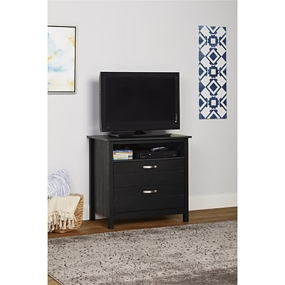 Ameriwood Home River Layne 2 Drawer Media Dresser, Black Oak (5981325COM)