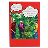 JAM Paper® Christmas Cards Boxed Set, Funny Skinny Tree, 10/Pack