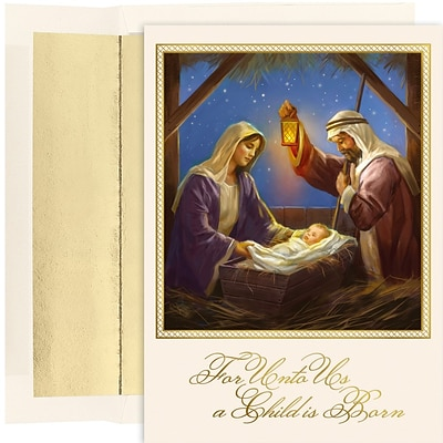 JAM Paper® Christmas Cards Boxed Set, For Unto Us A Child Is Born, 18/Pack
