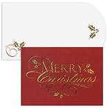 JAM Paper® Christmas Cards Boxed Set, Merry Christmas, Laser Cut, 12/Pack