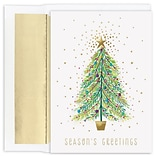 JAM Paper® Christmas Cards Boxed Set, Sparkle Tree, 18/Pack