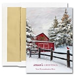 JAM Paper® Blank Christmas Cards Boxed Set, Winter Barn, 25/pack