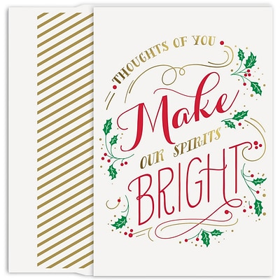 JAM Paper® Christmas Cards Boxed Set, Make Spirits Bright, 18/Pack
