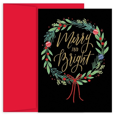 JAM Paper® Christmas Cards Boxed Set, Merry & Bright Wreath, 18/Pack