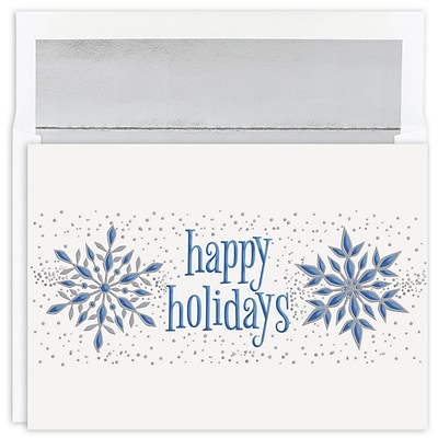 JAM Paper® Christmas Cards Boxed Set, Happy Holidays Silver Snowflakes, 16/Pack