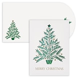 JAM Paper® Christmas Cards Boxed Set, Christmas Tree, Laser Cut, 12/Pack