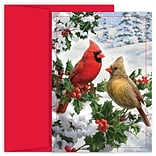 JAM Paper® Christmas Cards Boxed Set, Cardinal Couple, 18/Pack