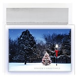 JAM Paper® Christmas Cards Boxed Set, Tree & Lamplight, 18/Pack