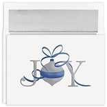 JAM Paper® Christmas Cards Boxed Set, Joy Silver Ornament, 16/Pack