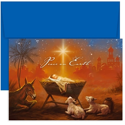 JAM Paper® Christmas Cards Boxed Set, Baby Jesus With Animals, 18/Pack