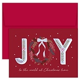 JAM Paper® Christmas Cards Boxed Set, Joy To The World At Christmas Time, 18/Pack