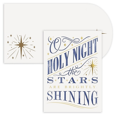 JAM Paper® Christmas Cards Boxed Set, Holy Night, Laser Cut, 12/Pack