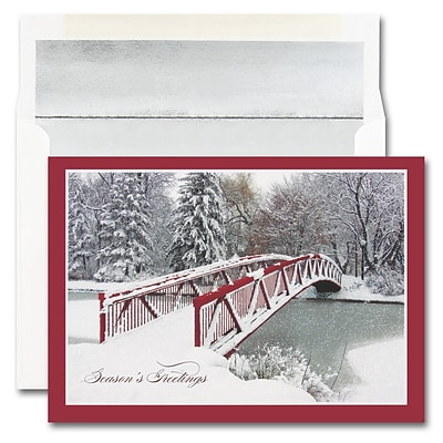 JAM Paper® Blank Christmas Cards Boxed Set, Red Bridge, 25/pack