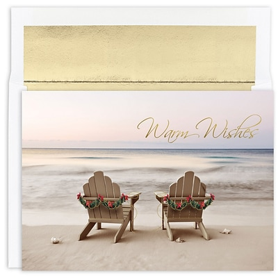 JAM Paper® Christmas Cards Boxed Set, Beach Chair Holiday, 18/Pack