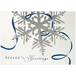 JAM Paper® Blank Christmas Cards Boxed Set, Silver Snowflake Seasons Greetings, 25/Pack