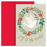 JAM Paper® Christmas Cards Boxed Set, Peace Dove Wreath, 18/Pack