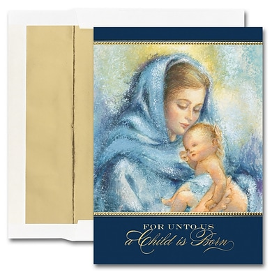 JAM Paper® Blank Christmas Cards Boxed Set, Madonna & Child, 25/pack