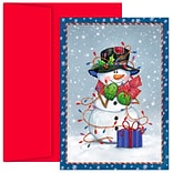 JAM Paper® Christmas Cards Boxed Set, Snowman Wrapped In Lights, 18/Pack