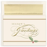 JAM Paper® Christmas Cards Boxed Set, Seasons Greetings Holly, 16/Pack