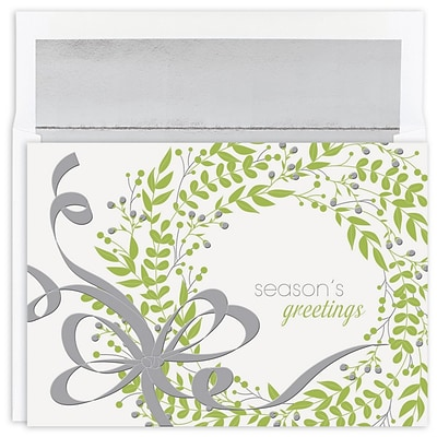JAM Paper® Christmas Cards Boxed Set, Greenery Wreath, 16/Pack