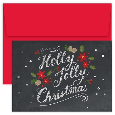 JAM Paper® Christmas Cards Boxed Set, Have A Holly Jolly Christmas, 18/Pack