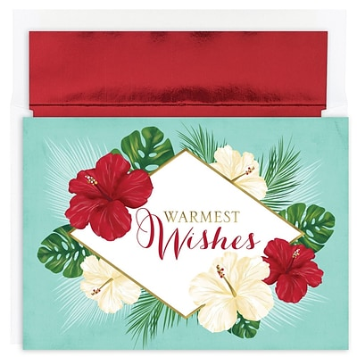JAM Paper® Christmas Cards Boxed Set, Tropical Floral, 18/Pack