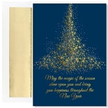 JAM Paper® Christmas Cards Boxed Set, Magic Of The Season Sparkling Tree, 16/Pack