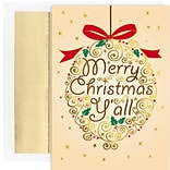 JAM Paper® Christmas Cards Boxed Set, Merry Christmas Yall Ornament, 18/Pack