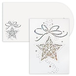 JAM Paper® Christmas Cards Boxed Set, Star Ornament, Laser Cut, 12/Pack