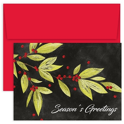 JAM Paper® Christmas Cards Boxed Set, Berry Branches, 18/Pack
