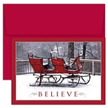 JAM Paper® Christmas Cards Boxed Set, Believe Red Sleigh, 18/Pack