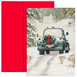 JAM Paper® Christmas Cards Boxed Set, Classic Holiday Car, 18/Pack