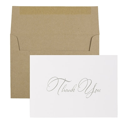 JAM Paper® Thank You Card Sets, Silver Script Cards with Kraft Envelopes, 25/Pack