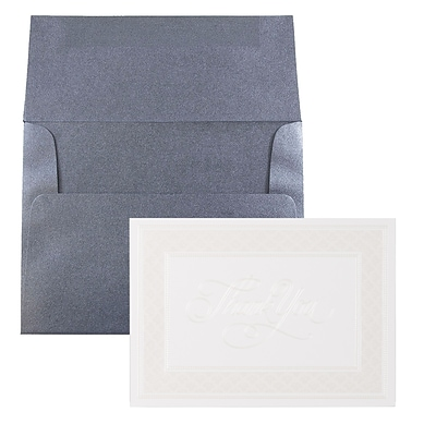 JAM Paper® Thank You Card Sets, Pearl Border Card with Anthracite Stardream Envelopes, 25/Pack