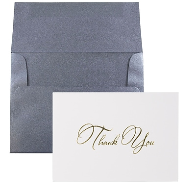 JAM Paper® Thank You Card Sets, White Care with Gold Script & Anthracite Stardream Envelopes, 25/Pack