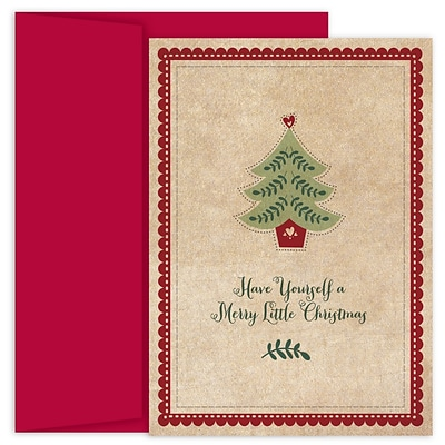 JAM Paper® Christmas Cards Boxed Set, Little Christmas Tree, 18/Pack