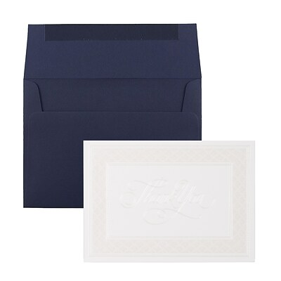 JAM Paper® Thank You Card Sets, Pearl Border Card with Navy Envelopes, 25/Pack