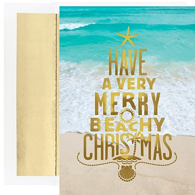 JAM Paper® Christmas Cards Boxed Set, Merry Beach Christmas, 18/Pack