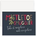 JAM Paper® Christmas Cards Boxed Set, Mistletoe Smuggler, 12/Pack