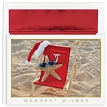 JAM Paper® Christmas Cards Boxed Set, Starfish Santa, 18/Pack