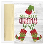 JAM Paper® Christmas Cards Boxed Set, Yall Elf, 18/Pack