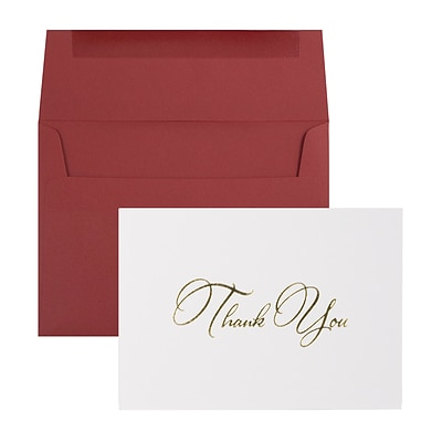 JAM Paper® Thank You Card Sets, White Care with Gold Script & Dark Red Envelopes, 25/Pack