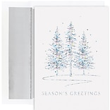 JAM Paper® Christmas Cards Boxed Set, Seasons Greetings Winter Treeline, 16/Pack